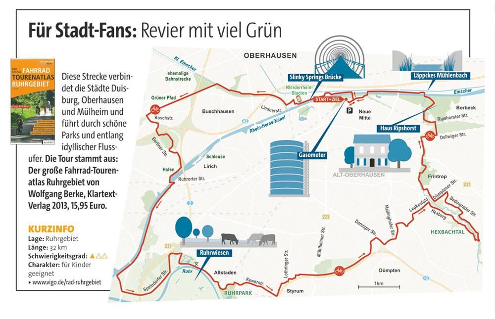 Karte Ruhrgebiet.Radtour Für Stadt Fans Ruhrgebiet